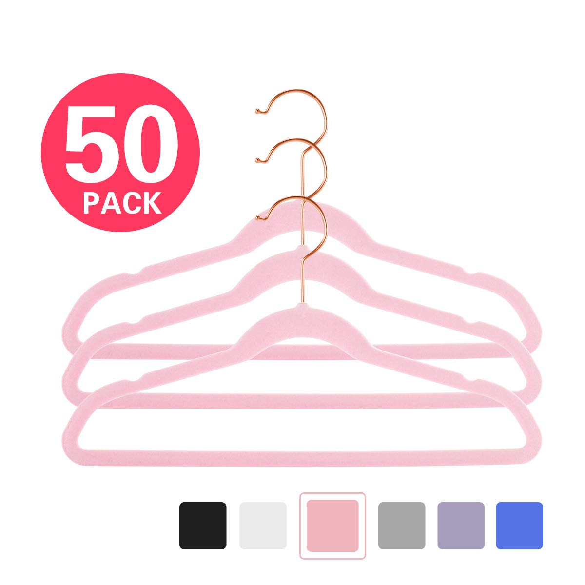 MIZGI Premium Kids Velvet Hangers (Pack of 50) 14'' Wide with Copper/Rose Gold Hooks,Space Saving Ultrathin,Nonslip Hangers use for Petite Junior Children's Skirt Dress Pants,Clothes Hangers-Pink