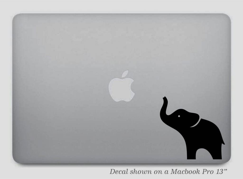 Black Elephant MacBook Decal or Car Sticker - Removable Vinyl Skin for Apple MacBook Pro Air Mac Laptop - G001K