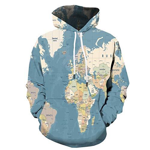 wuliLINL Unisex Realistic 3D Digital Print Pullover Jacket Long Sleeve Sweatshirt Coat Blouse Tops(Blue,XL) (407 Disney)
