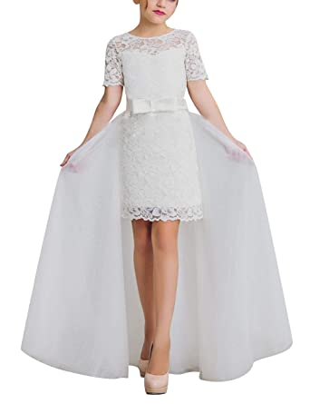style top tout neuf la plus récente technologie VKStar® Robe Demoiselle d'honneur Fille Dentelle Robe Enfant Mariage Col  Rond Robe Cérémonie Fille Courte