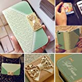 Bow Lace Fashion Wallet Flip Feature with Credit/id Card Slots/holder&strap PU Leather Bling Case Cover For Samsung Apple Smart Mobile Phone (iPhone 4 4S)