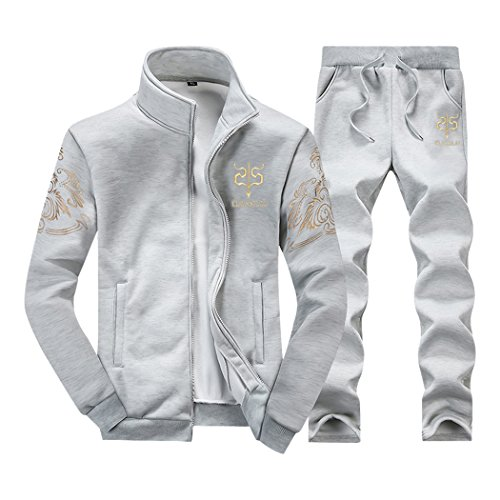 Rocky Sun Mens Tracksuit Fleece Joggers Pants Bottoms & Zipper Jacket Grey - Delivery Online Australia To Shopping