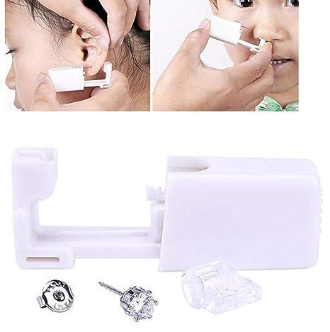 Juego de 2 piercings desechables de color blanco para oreja, oreja, ombligo, labios