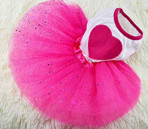 Skirt Pet Clothes - Idepet(TM) Spring Summer Pet Dog Cat Puppy Tutu Princess Dress Heart Printed Lace Skirt Clothes Pet Apparel (M)
