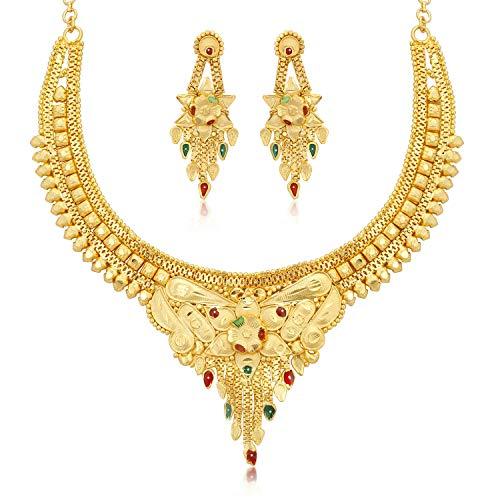 Sukkhi Gorgeous 24 Carat Gold plated Wedding Jewellery Choker Necklace Set for Women (N73717)