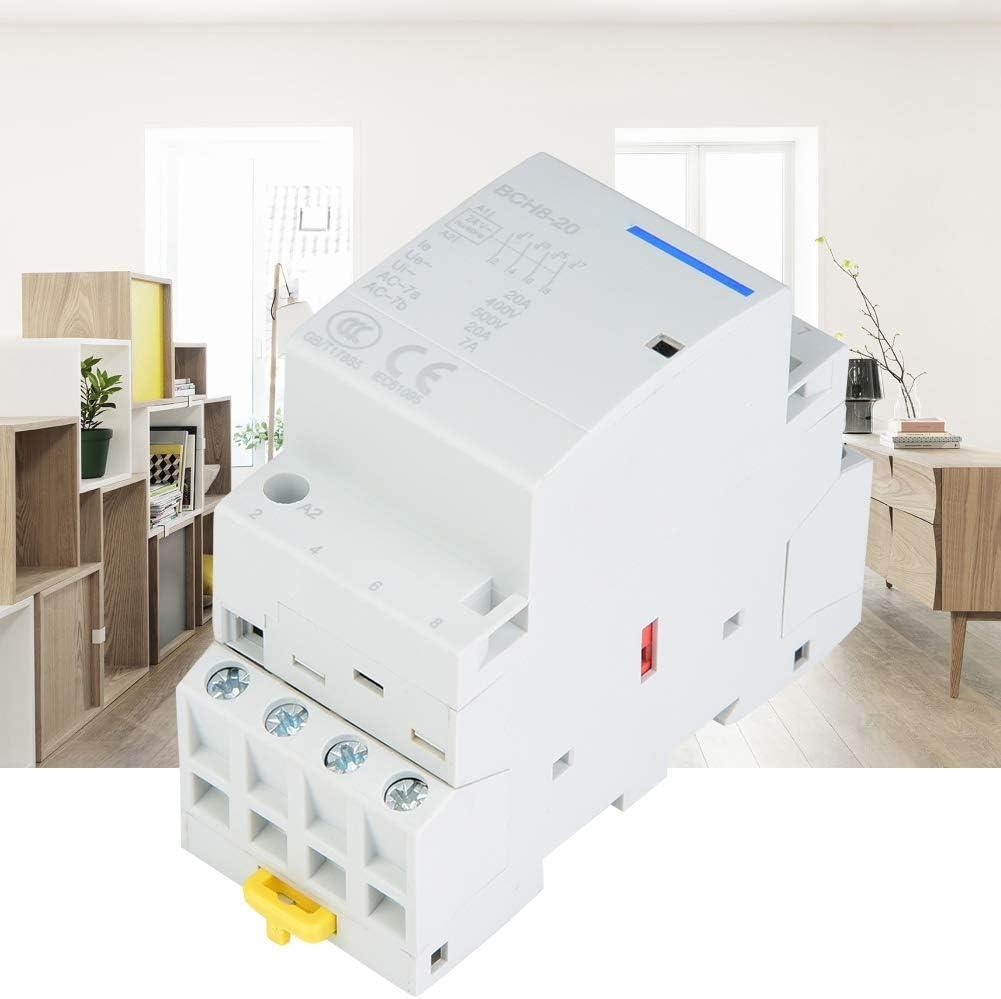 JF-Xuan relés, DIN Monte Relay, Household AC Contactor con raíl DIN 4P 20A 2NO 2NC 24V 220V / 230V (220V / 230V) Industrial