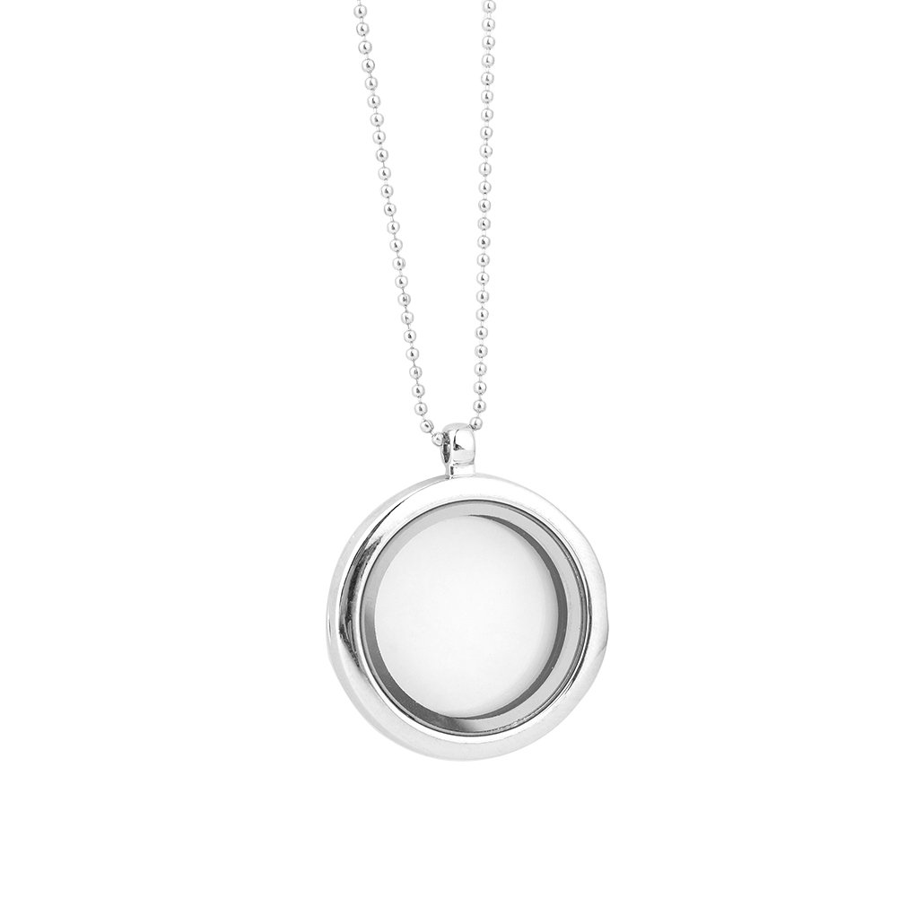 Golden JCJY Glossy Circular Floating Memory Pendant Necklace Pendant Glass Photo Frame