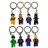8pcs/lot Movie Super Hero Avenger Keychain Kid Baby Toy Mini Figure Building Blocks Sets Model Toys Minifigures Brick