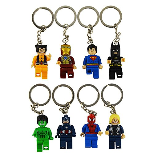 8pcs/lot Avengers Marvel DC Keychain iron man captain america spiderman MiniFigures Toy Super Heroes Series Action Figure Building Blocks Set