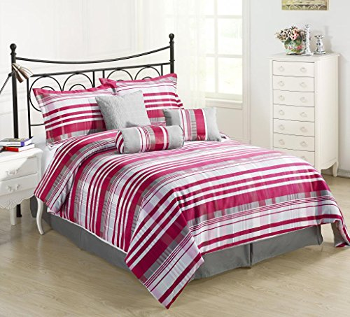Retro 7 Piece Striped Comforter Set, Queen, Red/Pink/Grey (Striped Red Bed Ensemble)