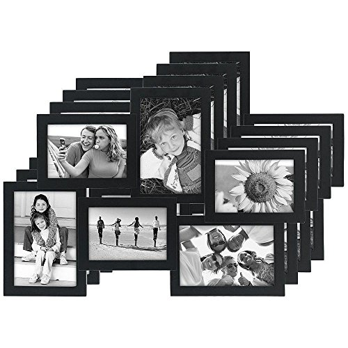 (Malden International Designs Crossroads Puzzle Collage Picture Frame, 6 Option, 3-3.5x5 & 3-4x6,Pack of 4, Black)