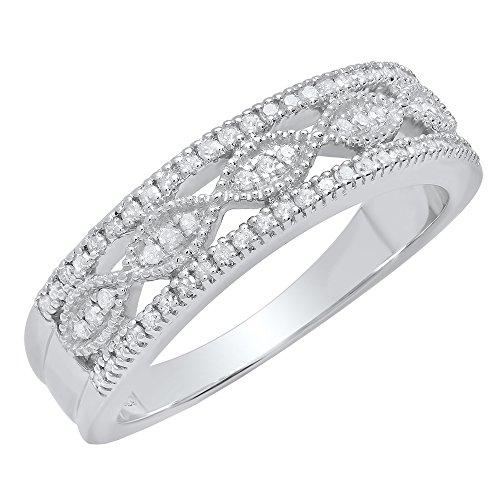 Vintage Wedding Rings Diamond (0.27 Carat (Ctw) Sterling Silver Round White Diamond Ladies Vintage Wedding Band 1/4 CT (Size 6))