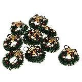 Prettyia 1/12 Dolls House Miniature Xmas Wreath Dollhouse Christmas Tree Decoration Garland Kids Pretend Play Toy