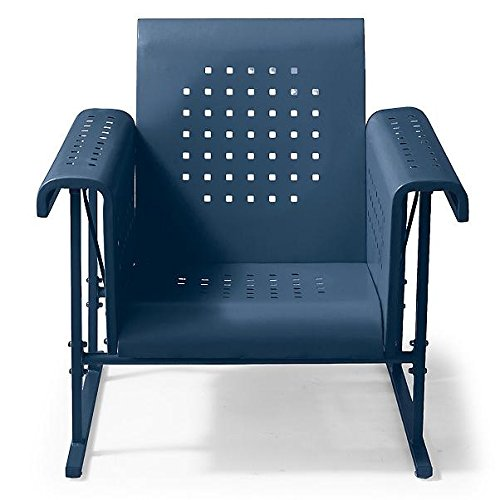 Vintage Metal Glider - Vintage Collection Outdoor Metal Glider Patio Chair Arm Chair Dark Blue