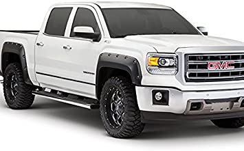 Smooth Finish Pocket Rivet Style Heavy Duty ABS Blister Plastic Fender Flares Compatible with 2011-2016 Ford F-250 F-350 Super Duty