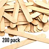 Korlen 200Pcs Natural Wooden Ice Cream Sticks Treat Sticks Freezer Pop Sticks, 4.5 Inches Length Wooden Sticks for Ice Cream Bars
