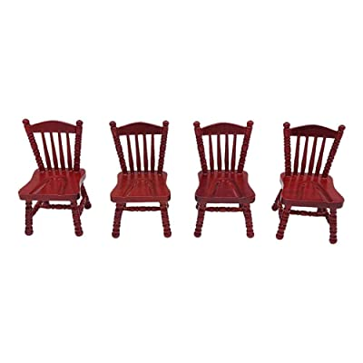 Rubyyouhe8 Decoration,DIY Ornament,1/12 Wooden Vintage Chair Model Craft Miniature Doll House Furniture DecorationDisplay Model: Toys & Games