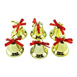 Pausseo 6-Pack Golden Bells Christmas Tree Ornaments Creative Pendants Set Ball Ornaments House Party Xmas Tree Snowflake Art Garden House Festival Home Decoration Children Gift Toy Prop Kit