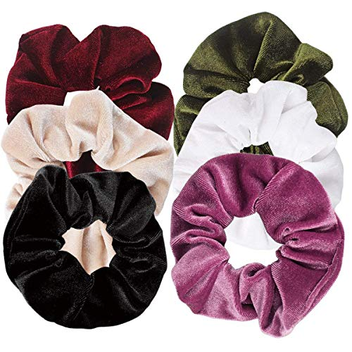 Ondder 6 Pack Velvet Scrunchies Hair Bobble Elastics Hair Scrunchy Hair Bands Headbands Women Scrunchies Bobbles Hair Ties, 6 Colors