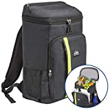 Outrav Camping Backpack Cooler - Fully Insulated Cooling Bag with Zippered Compartments, Mesh Pockets and Bottle Opener - 24 Can Capacity