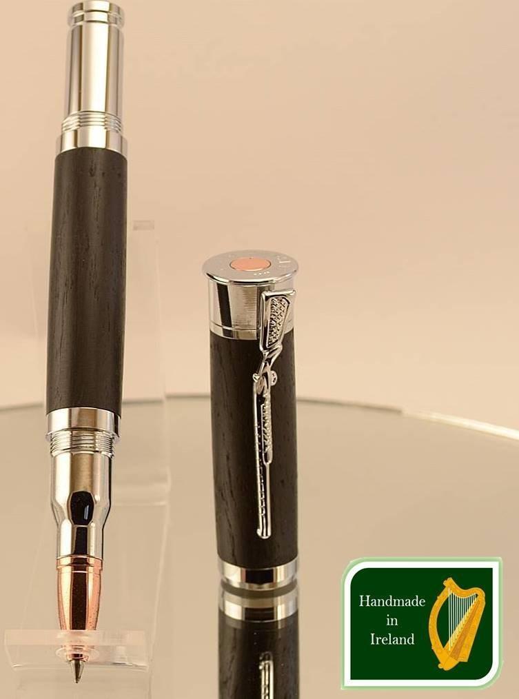 Shotgun pen handmade in Irish Bog Oak, a special gift made in Ireland