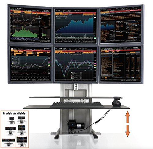 Stand Steady ErgoTech One Touch Electric Standing Desk Converter | Monitor Arm/Mount | Favorite Stand Up Desk of Stock Traders, Graphic Designers, More!(6 Monitor, 3 Over 3) (Fortune 500 Companies With Work From Home Positions)