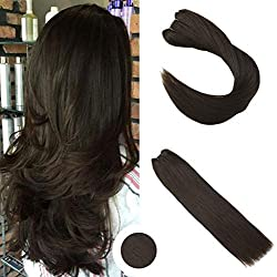Ugeat 18inch 50Gram Silkly Straight Hair Extensions Color #2 Dark Brown Remy Human Hair Micro Beads Human Hair Extensions