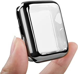 top4cus Environmental Anti-Resistant Soft TPU Lightweight 38mm Iwatch Case All-Around Protective Screen Protector Compatible Apple Watch Series 5 Series 4 Series 3 Series 2 - Black