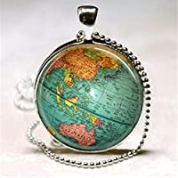 Ransopakul Vintage Globe Necklace Planet Earth World Map Art Pendant with Ball Chain Includ