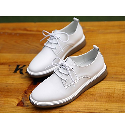 T-JULY Womens Retro Oxfords Shoes - Comfy Platform Lace-up Round Toe Casual Shoes White KiIgf