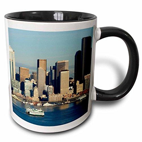 3dRose 95910_4 Seattle Skyline And Elliott Bay With Ferry Boats Jamie And Judy Wild Two Tone Black Mug 11 oz White