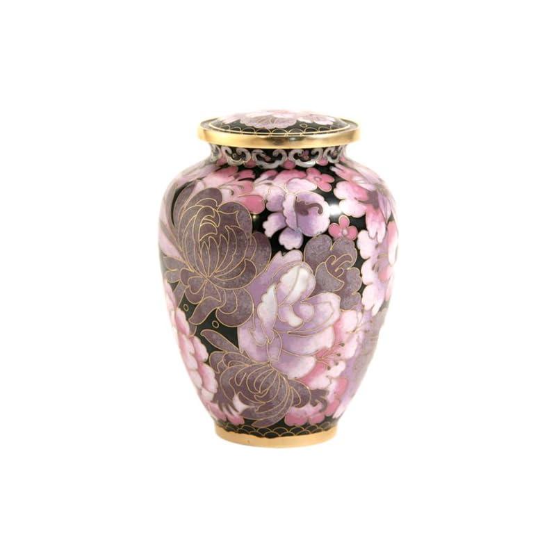 dog supplies online near & dear pet memorials elite cloisonné floral blush pet cremation urn, 50 cubic inch, pink