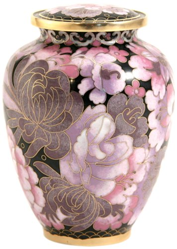 Near & Dear Pet Memorials Elite Cloisonné Floral Blush Pet Cremation Urn, 50 Cubic Inch, ()