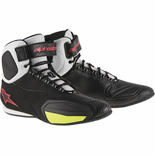Alpinestars Faster Vented Shoes (12.5) (BLACK/WHITE/RED/YELLOW) by Alpinestars