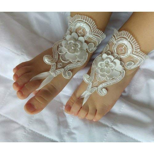 Baby girl barefoot sandals,kids shoes,baptism, christening lace barefoot sandals
