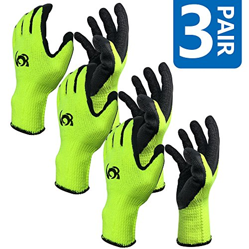 Work Gloves, Costech [Set of 3 Pairs] Knit Latex Coated General Work Glove ; Insulation; Large Size; Non-Slip & Super- Comfort with Textured Rubber Tight Grip Palm for Gardening/ Construction (3 (Leather Palm Mechanics Glove)