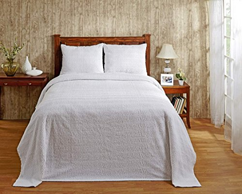 Better Trends/Pan Overseas Natick 100% Cotton Chenille Tufted Bedspread, Twin, 81