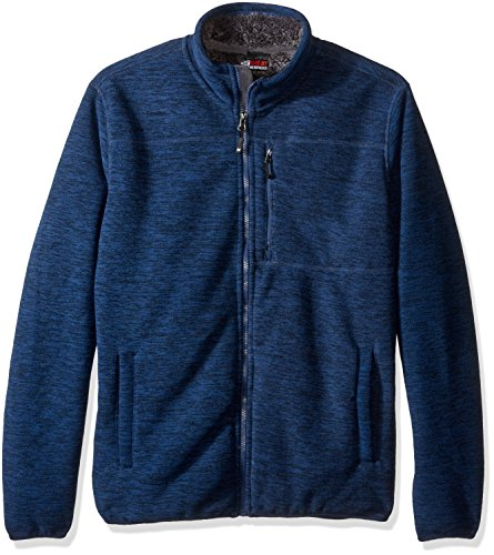 32 Degrees Men's Space Dye Fleece with Sherpa Backing, True Navy, Large