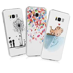 [3unidades] Samsung Galaxy S8Plus Funda, elegante funda de cristal Ultra Thin [Slim-fit] carcasa de plástico duro completo de protección PC piel para Samsung Galaxy S8Plus, Cat Kissing Fish