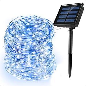 Ankway luci Stringa Solare, 200 LED 8 Modi Lunghezza 22M/72ft, Luci Energia Solare Impermeabili Interni e Esterni per Giardino Natale Matrimoni e Feste,Blu 7 spesavip