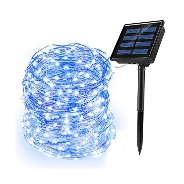 Ankway luci Stringa Solare, 200 LED 8 Modi Lunghezza 22M/72ft, Luci Energia Solare Impermeabili Interni e Esterni per Giardino Natale Matrimoni e Feste,Blu 1 spesavip