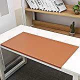 Non-Slip 35.4'x 18.9' Soft Leather Surface Office Desk Mouse Mat Pad with Full Grip Fixation Lip Table Blotter Protector(Brown)