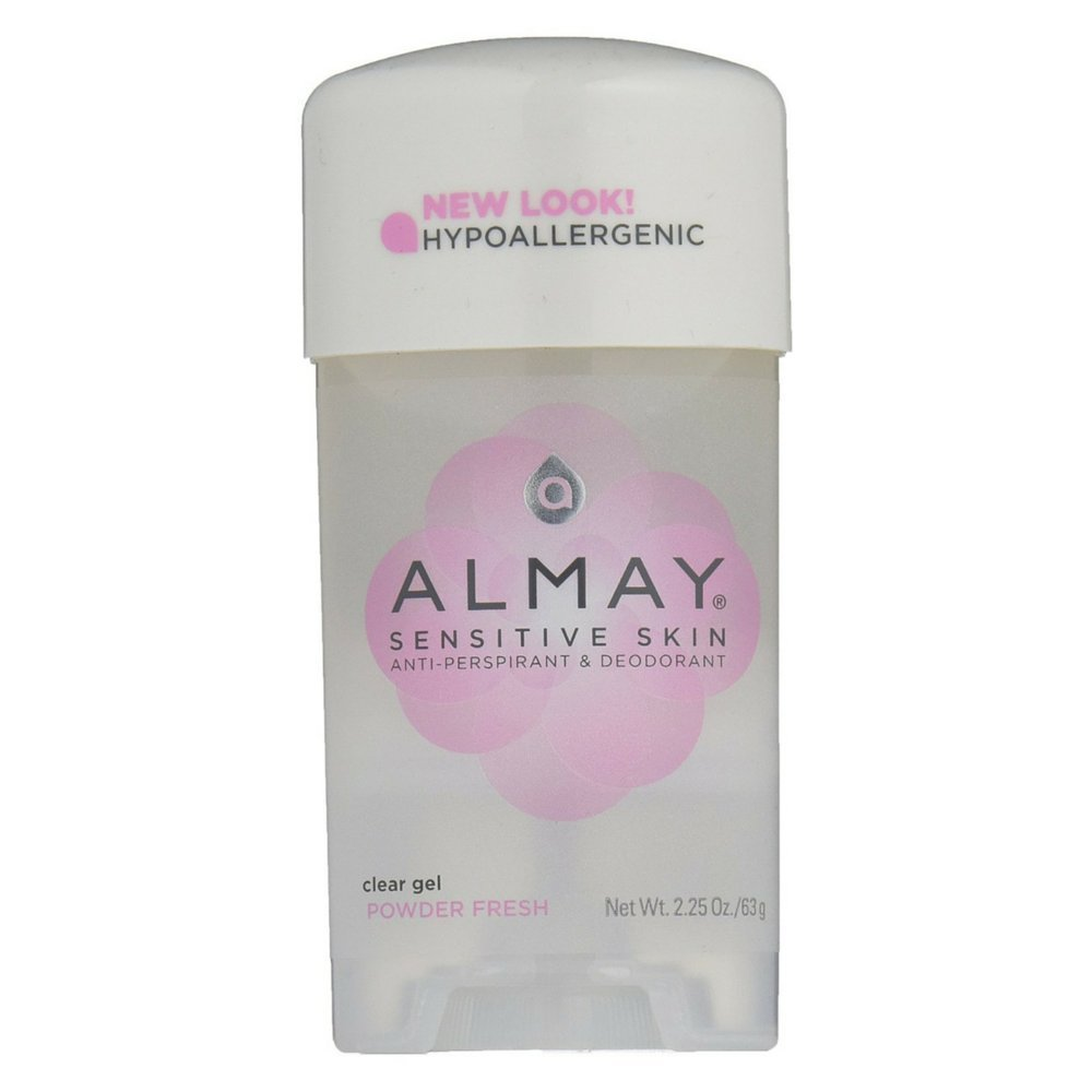 Almay Clear Gel, Anti-Perspirant & Deodorant, Powder Fresh, 2.25 Oz (Pack of 6)