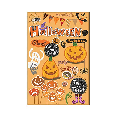 HUVATT Halloween Themed Party Polyester Garden Flag House Banner 12 x 18 inch, Pumpkins and Ghost Decorative Flag for Party Yard Home Outdoor Decor