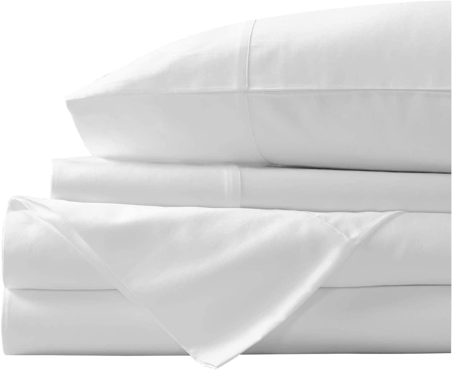 Juego de sábanas de algodón egipcio de 400 hilos, juego de sábanas de algodón con grapas 100% largas, sábana suave satinada - Sábana ajustable, sábana plana y 2 fundas de almohada (doble, blanco)