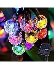 Damtong Lichtsnoer op Zonne-Energie,12m 100 Led 8 Modi Lichtsnoer,Meerkleurig Kristallen Bollen Waterdicht Lichtketting Buiten,Outdoor Decoratie,Tuin,Terras,Bruiloft,Feest