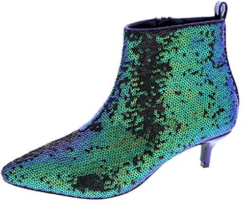 Weboo Harmoni-14 Women Sequin Sparkle Pointed Toe Kitten Low Heel Ankle Booties Boots Hologram 6.5