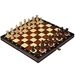 """Travel Magnetic Chess Set w/ Wooden 10.4"""" Board and Chessmen"""