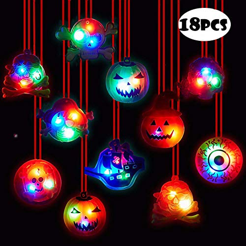 Originalidad 18Pc Halloween LED Necklaces Party Favors for Kids and Adults with Gift Package Halloween Light up Toys Treat Bag Fillers