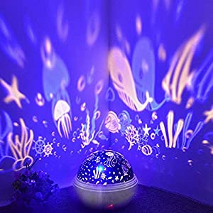 Alenbrathy Starry Night Light, newest Star/Ocean, 360° Rotating Multiple Colors Ceiling Projector, Romantic Home Decoration Lamp for Kids Baby Bedrooms Nursery, Gifts for Kids Christmas Birthday.White